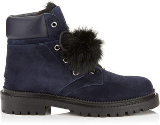 Jimmy Choo ELBA FLAT Navy Suede Boots with Fur Pom Poms