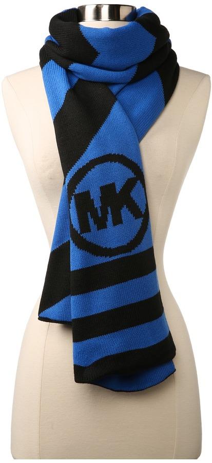 MICHAEL Michael Kors Michael Kors Logo Stripe Group Scarf (Blue) - Accessories