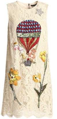 Dolce & Gabbana Embellished Cotton-Blend Corded Lace Mini Dress