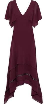 Derek Lam Open Knit-Trimmed Silk Crepe De Chine Dress