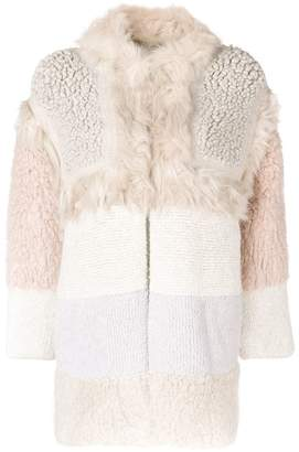 Stella McCartney faux-fur colour block coat