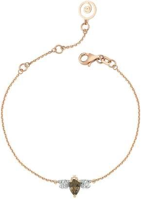 Bee Goddess Rose Gold Diamond and Smoky Topaz Honey Bee Bracelet