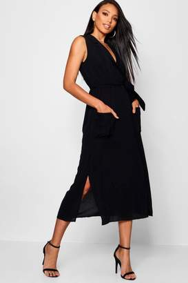 boohoo Sleeveless Belted Midi Shirt Dress