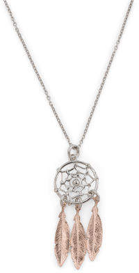 Made In Italy 2 Tone Sterling Silver Dream Catcher Necklace