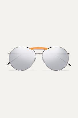 Fendi Gentle Aviator-style Silver-tone Mirrored Sunglasses