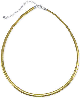 "Giani Bernini Two-Tone Omega Link Chain Necklace in 18k Gold-Plated Sterling Silver, 16"" + 2"" extender"