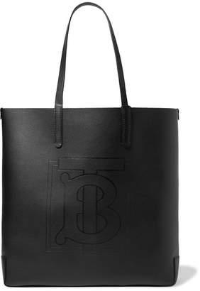 Burberry Debossed Textured-leather Tote - Black