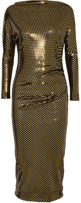 Vivienne Westwood Anglomania - Draped Metallic Printed Midi Dress - Gold $550 thestylecure.com