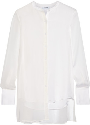 DKNY - Chiffon-paneled Stretch-silk Crepe De Chine Blouse - White $400 thestylecure.com