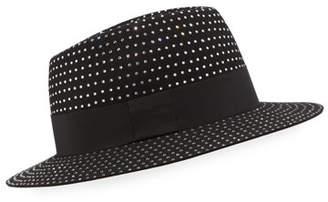 Saint Laurent Men's Crystal-Embellished Rabbit Felt Fedora Hat
