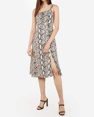 Express Snakeskin Print Lace-Up Midi Dress