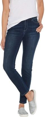 Logo By Lori Goldstein LOGO by Lori Goldstein Petite 5-Pocket Distressed Skinny Jean