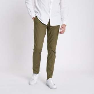 River Island Mens Khaki green slim fit chino pants