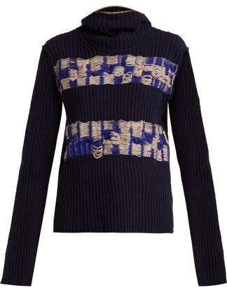 Calvin Klein Balaclava Distressed Wool Sweater - Womens - Blue Multi