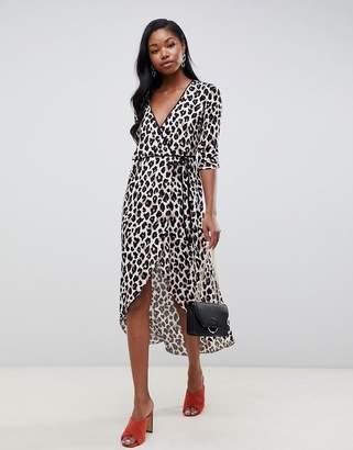 Miss Selfridge wrap midi dress in animal print