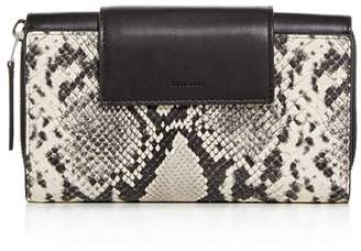AllSaints Snake-Embossed Leather French Wallet
