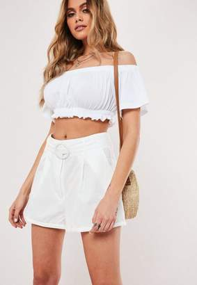 Missguided Petite White Circle Buckle Belted Shorts