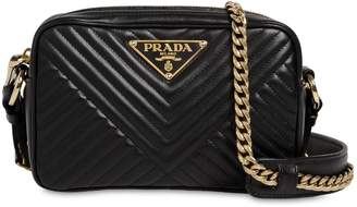 Prada Quilted Leather Triangle Logo Camera Bag