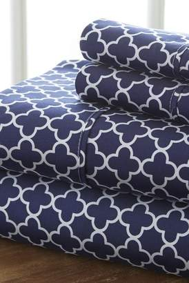 IENJOY HOME Home Spun Premium Ultra Soft Quatrefoil Pattern 4-Piece California King Bed Sheet Set - Navy