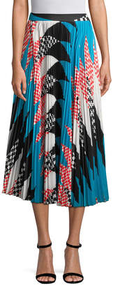 MSGM Pleated Print Midi Skirt