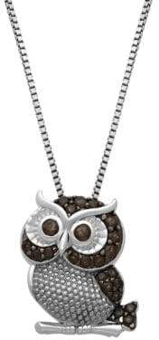 Lord & Taylor Sterling Silver Smokey Quartz Owl Pendant Necklace