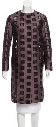Mantu Jacquard Collarless Overcoat w/ Tags
