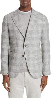 Eleventy Trim Fit Houndstooth Alpaca Wool Blend Sport Coat