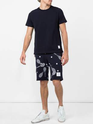 Thom Browne Tennis racket embroidered shorts
