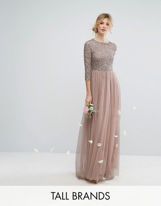 Maya Tall 3/4 Sleeve Maxi Dress With Delicate Sequin And Tulle Skirt $143 thestylecure.com