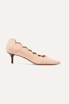 Chloé Lauren Scalloped Glossed-leather Pumps - Blush