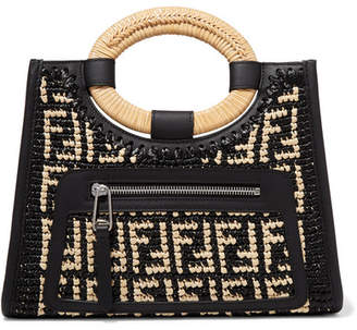 Fendi Runaway Small Leather-trimmed Woven Raffia Tote - Black