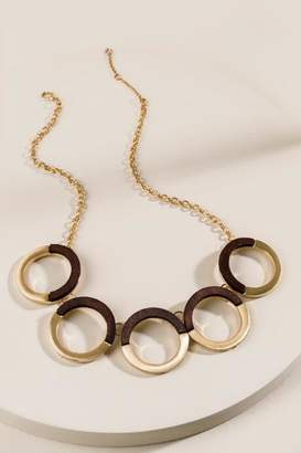 francesca's Mariam Wood Circle Statement Necklace - Brown
