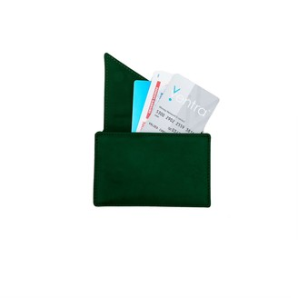Holly & Tanager Insider Leather Card Holder Wallet In Emerald