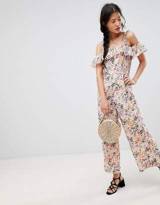 Glamorous Jumpsuit With Ruffle Layer In Floral