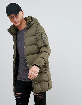 Pull&Bear Hooded Puffer Jacket In Khaki