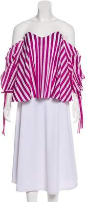 Caroline Constas Striped Off-The-Shoulder Top w/ Tags