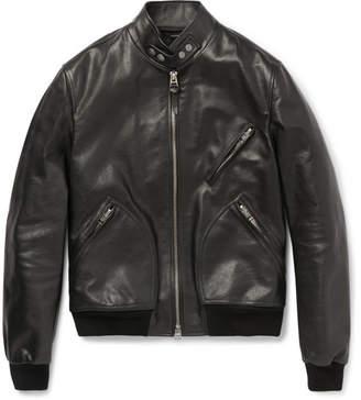 Tom Ford Slim-Fit Leather Bomber Jacket - Men - Black