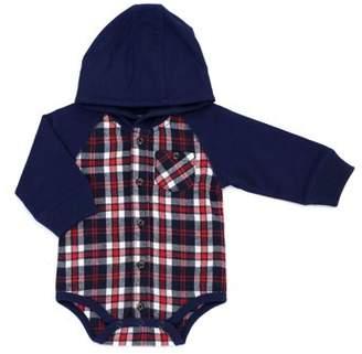 Kapital K Long Sleeve Hooded Flannel Plaid Bodysuit (Baby Boys)