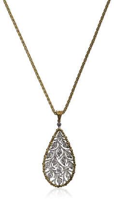 Buccellati Ramage 18k Diamond Leaf Teardrop Pendant Necklace