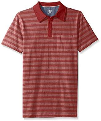 Lee Men's Short Sleeve Striped Polo Shirt