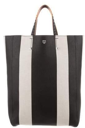 MCM Striped Canvas Bucket Bag w/ Tags