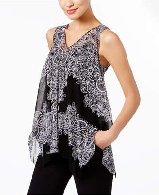 INC International Concepts I.n.c. Printed Handkerchief-Hem Top, Created for Macy's