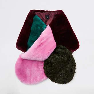 River Island Pink faux fur color block scarf