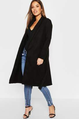 boohoo Petite Shawl Collar Belted Coat