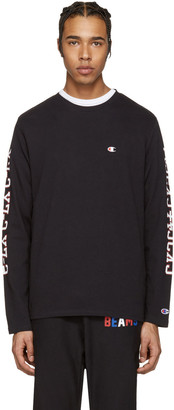 Champion x Beams Black Printed Sleeve Logo Pullover $95 thestylecure.com