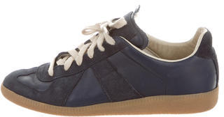Maison Martin Margiela Low-Top Leather Sneakers $195 thestylecure.com