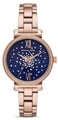 Michael Kors Mini Sofie Blue Crystal-Embellished Dial Watch, 36mm