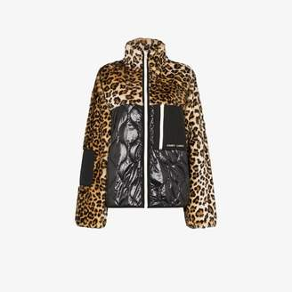 Sandy Liang Dean leopard fleece panel jacket