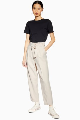 Topshop Womens Tall Belt Peg Trousers - Stone