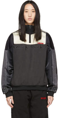 adidas by Alexander Wang Black and Off-White Disjoin Half-Zip Sweater